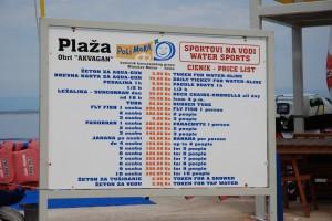 Цены на пляжах